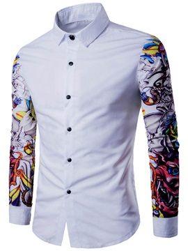 Floral Printing Lapel Single-Breasted Long Sleeve Men's Casual Shirt