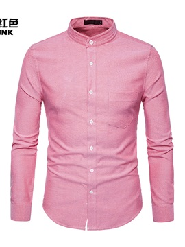 Stand Collar Single-Breasted Solid Color Long Sleeve Men's Casual Shrit