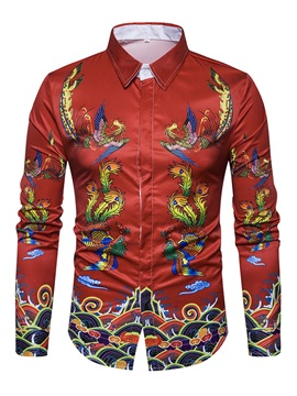 Lapel Print Long Sleeve Men's Casual Shirt