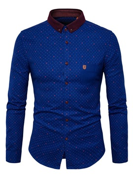 Polo Neck Print Color Block Long Sleeve Men's Casual Shirt