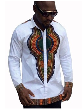 Tidebuy Lapel Totem African Dashiki Slim Fit Men's Shirt