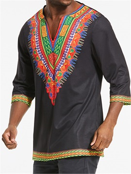 Tidebuy V-Neck Dashiki Print Long Sleeve Men's Shirt