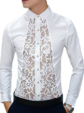 Stand Collar Solid Color Lace Long Sleeve Men's Shirt