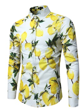 Lemon Print Color Block Long Sleeve Men's Casual Shirt