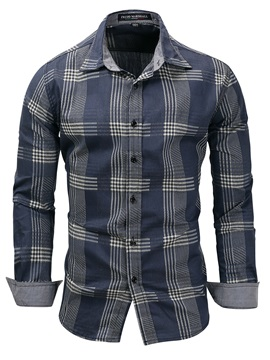 Tidebuy Lapel Plaid Color Block Men's Casual Shirt