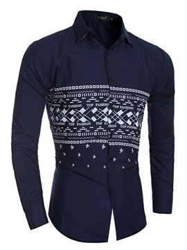 Tidebuy Lapel Simple Print Long Sleeve Men's Shirt