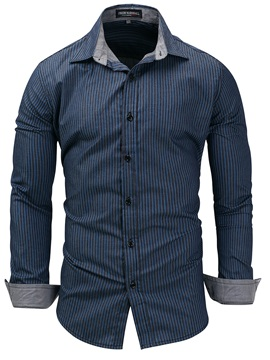 Tidebuy Stripe Lapel Button Men's Long Sleeve Shirt