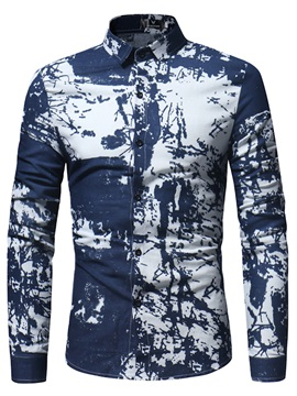Tidebuy Color Block Unique Print Slim Men's Shirt