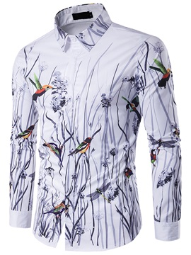 Tidebuy Floral Bird Print Men's Slim Fit Shirt