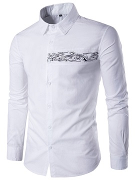 Tidebuy Simple Embroidery Slim Men's Casual Shirt