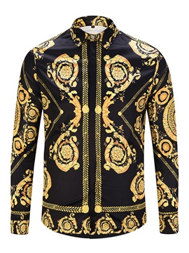 Tidebuy Vintage Style Print Long Sleeve Men's Shirt