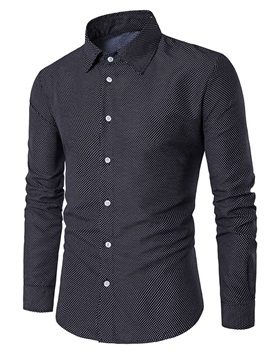 Tidebuy Polka Dots Lapel Men's Slim Fit Shirt