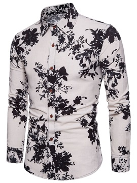 Floral Print Lapel Cotton Men's Casual Shirt