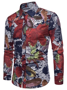 Tidebuy Color Block Leaf Print Men's Stylish Shirt