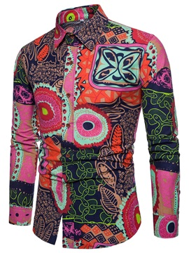 Patchwork Geometric Fashion Pattern Men's Casual Shirt