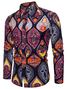 Tidebuy Lapel Colorful Print Men's Stylish Shirt
