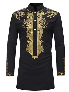 Tidebuy African Dashiki Print Stand Collar Mid-Length Men's Shirt