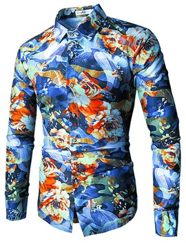 Tidebuy Colorful Print Slim Men's Stylish Shirt