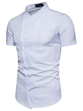 Tidebuy Plain Stand Collar Men's Short Sleeve Shirt