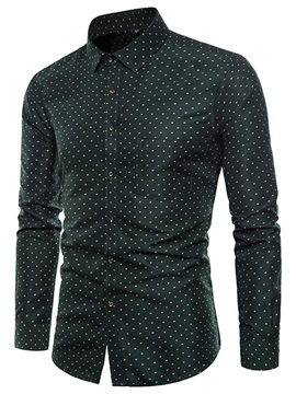 Tidebuy Plain Polka Dots Men's Casual Shirt