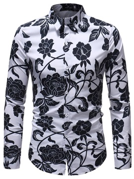 Tidebuy Black Floral Print Men's Casual Shirt