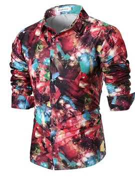 Tidebuy Starry Sky Color Block Men's Casual Shirt