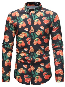 Tidebuy Orange Print Men's Fashion Casual Shirt