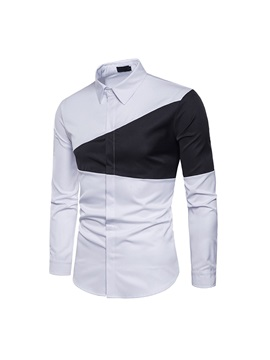 Two-tone triangle stitching fashion with men's lapel long sleeve shirt