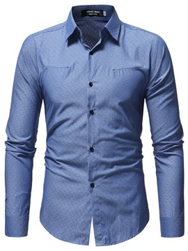 Plain Laple Button Up Men's Casual Shirt