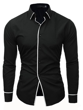 Lapel Plain Simple Style Men's Casual Shirt
