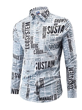 Lapel Newspaper Print Men's Casual Shirt