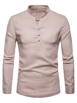 Stand Collar Plain Button Men's Casual Shirt