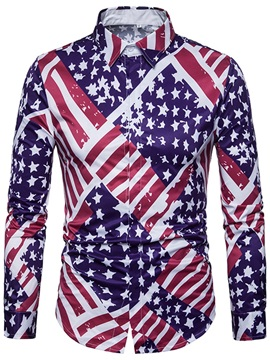 Star Flag Print Lapel Men's Casual Shirt