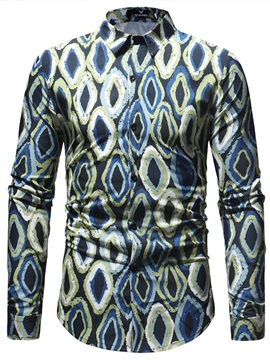 Lapel Stylish Geometric Print Men's Shirt