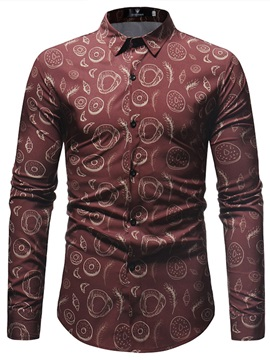 Red Simple Print Men's Fashion Shirt