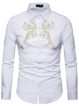 Lapel Plain Men's Casual Dress Shirt