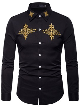 Lapel Stylish Print Men's Casual Shirt