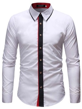 Lapel Single-Breasted Men's Dress Shirt