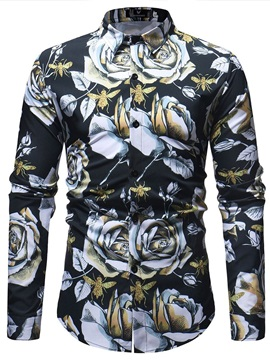 Floral Long Sleeve Men's Casual Shirt