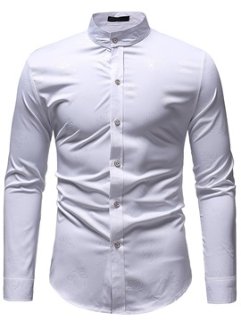 Casual Single-Breasted Plain Men's Slim Shirt
