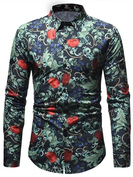 Lapel Floral Print Fashion Men's Shirt
