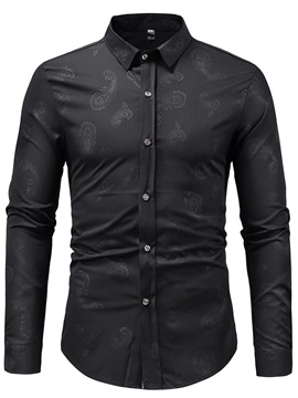 Casual Lapel Print Button Up Men's Shirt