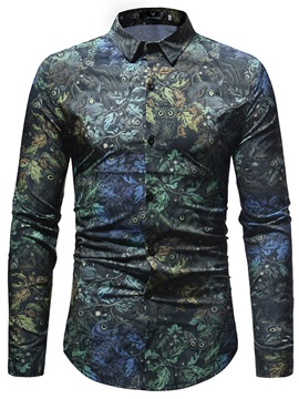 Lapel Owl Floral Print Men's Casual Shirt
