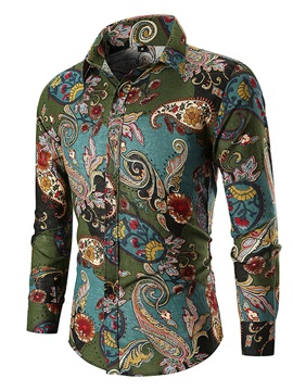 Lapel Ethnic Pattern Men's Fashion Shirt