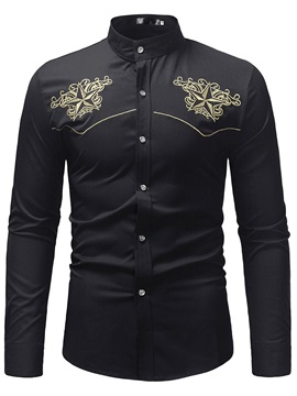 Floral Embroidery Stand Collar Men's Casual Shirt