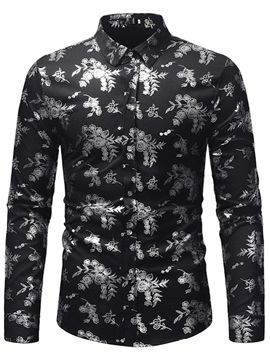 Lapel Floral Print Button Up Men's Shirt