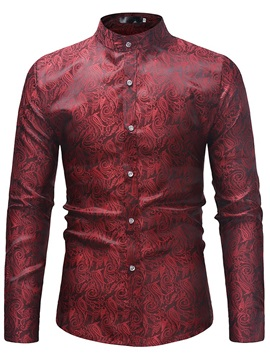 Plain Floral Stand Collar Men's Fashion Shirt