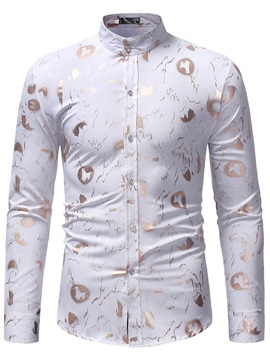 Stand Collar Print Button Up Men's Dress Shirt