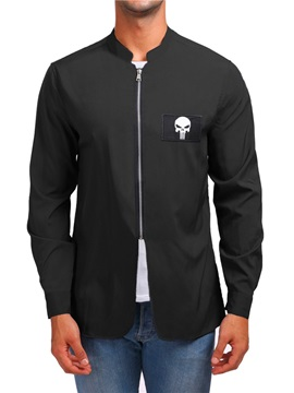 Stand Collar Plain Skull Print Zipper Men's Shirt