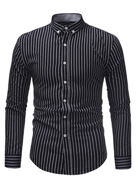 Vertical Striped Lapel Men's Slim Shirt